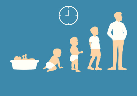 Ilustración de Stages of growing up from baby to man - Imagen libre de derechos