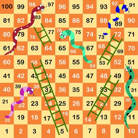 Ilustración de Ladder snakes game,Funny frame for children - Imagen libre de derechos