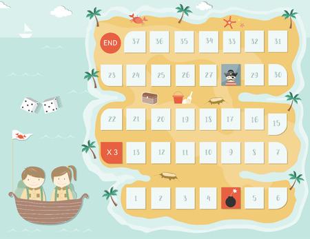 Ilustración de Pirate board game template,Board games, Vector illustrations. - Imagen libre de derechos