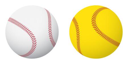 Ilustración de Sports balls: baseball and softball. Small set. - Imagen libre de derechos