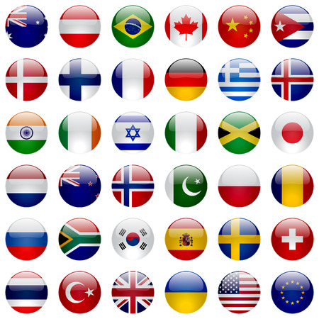 Illustration pour World flags vector collection. 36 high quality round glossy icons. Correct color scheme. - image libre de droit