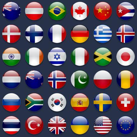 Ilustración de World flags vector collection. 36 high quality round glossy icons. Correct color scheme. Perfect for dark backgrounds. - Imagen libre de derechos