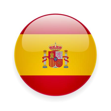 Ilustración de Round glossy icon with national flag of Spain on white background - Imagen libre de derechos