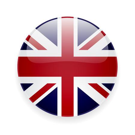 Ilustración de Round glossy icon with national flag of the UK on white background - Imagen libre de derechos
