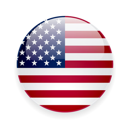 Ilustración de Round glossy icon with national flag of the USA on white background - Imagen libre de derechos