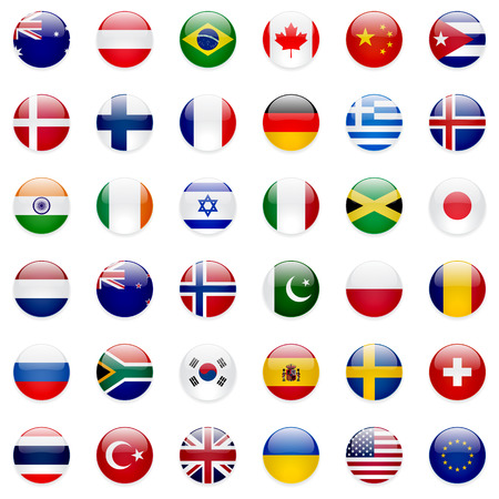 Illustration pour World flags vector collection. 36 high quality clean round icons. Correct color scheme. - image libre de droit