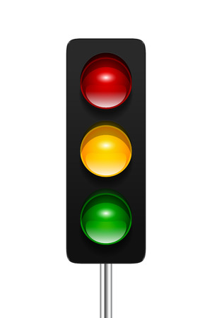 Stylish modern vector traffic signal with three aspects isolated on white background. Traffic lights icon for your design.