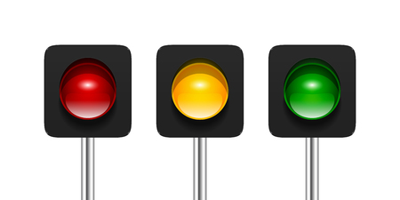 Vector single aspect traffic signals isolated on white background. Red, amber and green traffic lights icons for your design.