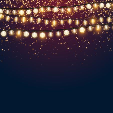 Ilustración de Beautiful dark blue Christmas vector background with sparkling golden glitter and shiny Xmas lights with empty copyspace for your design - Imagen libre de derechos