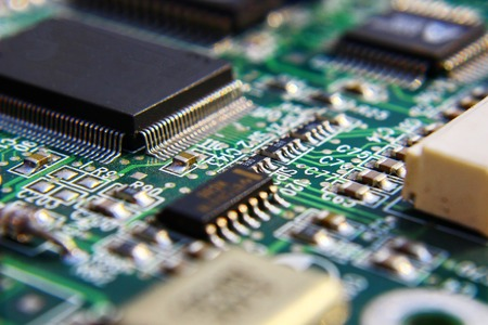 Photo pour Printed Circuit Board with many electrical components. - image libre de droit