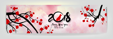 Set banners Happy new year 2018 greeting card and Chinese new year of the dog, Cherry blossom background.