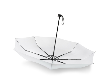 Foto de Blank umbrella isolated on white background. Portable parasol for protection sun and rain. Clipping paths object. - Imagen libre de derechos