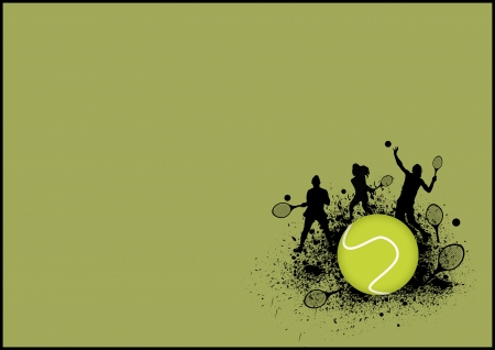 Tennis sport poster: man and woman background with space