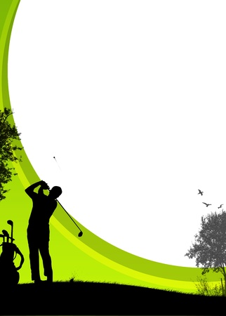 Golf sport poster background with drawing figure
