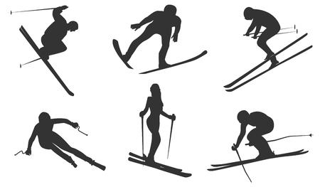 Ilustración de Sketch - six skiers - isolated on white background - flat style - vector - Imagen libre de derechos