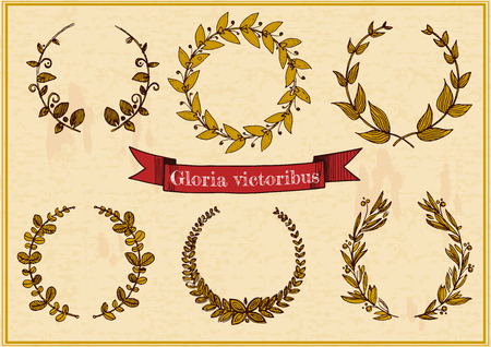 Illustration for Vector illustration of 6 different golden laurel wreaths and red ribbon with Latin phrase: Gloria victoribus, what means: Glory to the victors.  Vintage old yellow paper background. - Royalty Free Image