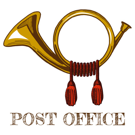 Illustration pour Vector illustration of brass vintage postal horn in colored hand-drawn style. - image libre de droit