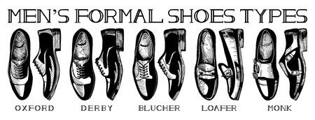 Ilustración de Vector illustration of mens formal suit shoes: oxford, derby, blucher, loafer, monk. Ultimate guide in vintage drawing style. Black and white. - Imagen libre de derechos
