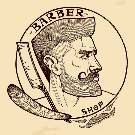 Illustrazione per Vector illustration of barber shop emblem with handsome man with beard, sideburns, moustaches and straight razor. Vintage hand-drawn style. - Immagini Royalty Free