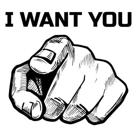 Illustration pour Vector illustration of a hand finger pointing directly on you with inscription: I want you. Hand drawn vintage or comic book style. - image libre de droit