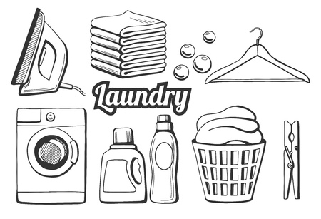 Ilustración de Vector illustration of a laundry icons set. Different objects: iron, towels pile, soap bubbles, hanger, washing machine, washing chemicals bottles as gel and softener, laundry basket, clothespin. Hand drawn style. - Imagen libre de derechos