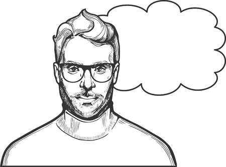 Illustrazione per Vector illustration of ink drawn man in glasses with a stylish hairstyle and beard wearing roll-neck. Close-up portrait in hand-drawn vintage style. - Immagini Royalty Free