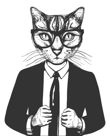 Illustration pour Vector illustration of a cat in suit and glasses. Successful businessman character in hand drawn vintage style. - image libre de droit