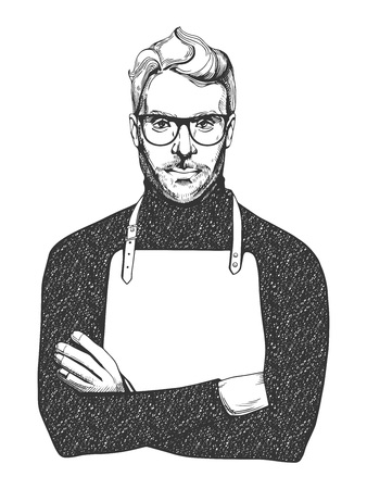 Illustration pour Vector illustration of ink drawn man in glasses and apron. Close-up portrait of a chef or woodworker in hand-drawn vintage style.  - image libre de droit