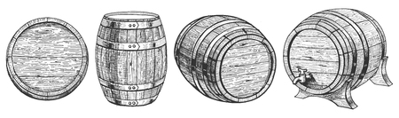 Illustration for Vector illustration of cask or barrel from a different angle. Front, top, three quarters positions. Barrel on a stand with a tap. Hand drawn style. - Royalty Free Image