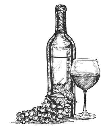 Ilustración de Vector illustration of a wine glass, bottle and grapes bunch still life. Vintage engraving style. - Imagen libre de derechos