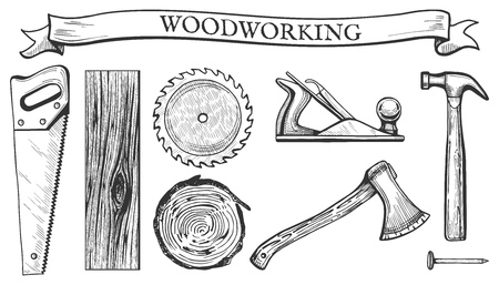 Ilustración de Vector illustration of a woodworking objects set: hand saw, circular blade, wooden slab, board, tree cross section, planer tool, hammer, ax, nail. Carpentry tools in hand drawn vintage engraving style. - Imagen libre de derechos