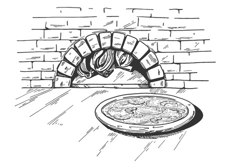 Illustration pour A Vector illustration of a seafood pizza on the traditional brick firewood oven background. - image libre de droit