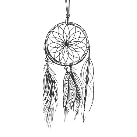 Illustration for Vector illustration of a monochrome boho dream catcher with beads and feathers. Vintage engraving hand drawn style. - Royalty Free Image