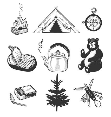 Ilustración de Vector illustration of camping set. Firewood, matches, tent, kettle, multitool, compass, sprats, spruce and unexpected guest bear. Vintage hand drawn style. - Imagen libre de derechos