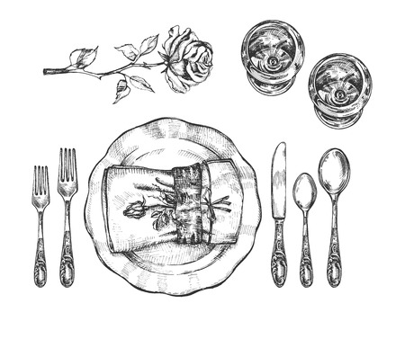Illustration pour Vector illustration of informal tableware setting set. Vintage plate, glasses, forks, knife, napkin with rose flower. Vintage hand drawn style. - image libre de droit