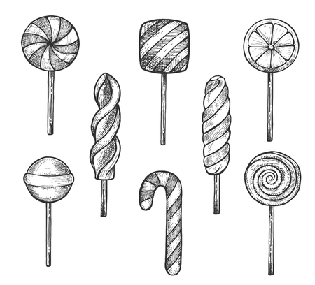 Ilustración de Vector illustration of sweet treats set. Round, squarish, fruit and striped caramel candies and lollipops on sticks, candy cane, marshmallow spiral. Vintage hand drawn style. - Imagen libre de derechos