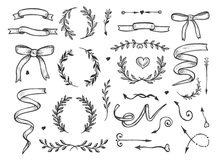Illustration for Vector illustration of romantic floral sketchy hand drawn elements set. Herbs and flowers, wreaths, hearts, ribbons, arrows. Vintage hand drawn style. - Royalty Free Image