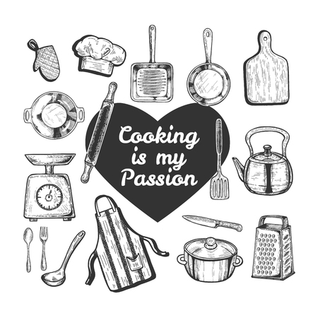 Illustration pour Vector illustration of love cooking set. Kitchen objects tools and utensils like skillet, board, kettle, pan, weights, knife, apron, hat, grater, rolling pin, text in heart. Vintage hand drawn style. - image libre de droit