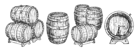 Illustration for Vector illustration of wooden cask or barrels set. Front, top, three quarters positions view of beer and wine storage tank on stand with tap stacked. Vintage hand drawn style. - Royalty Free Image