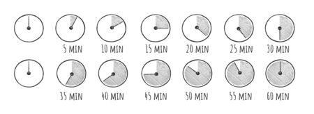 Ilustración de Vector illustration of timer simple doodle icons set. Stopwatch on 5, 10, 15, 20, 25, 30, 35, 40, 45, 50, 55, and 60 minutes. Half and quarter of hour. Vintage hand drawn style. - Imagen libre de derechos