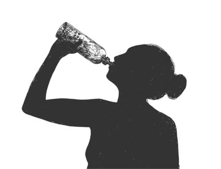 Illustration pour Vector illustration of healthy drink diet lifestyle. Silhouette girl drinking water from bottle. Vintage hand drawn style. - image libre de droit