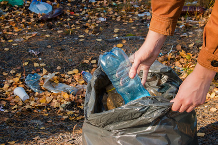 Photo for young woman collects garbage in the woods - Royalty Free Image