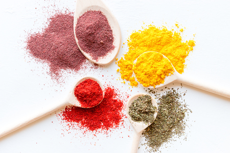 Photo for colorful spices close up on a white background - Royalty Free Image