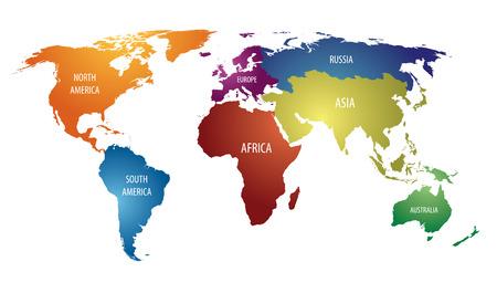Illustration pour World Continents and Russia Color Map - image libre de droit