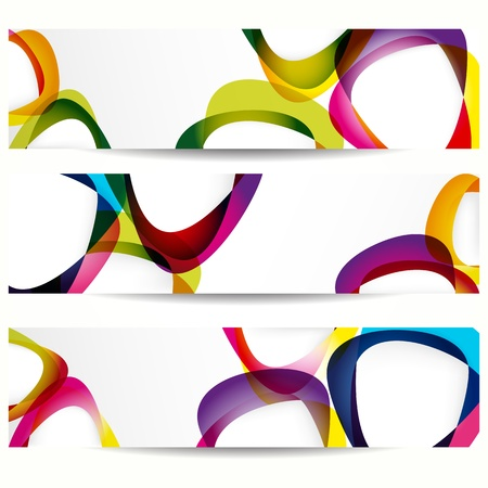 Illustration for Abstract banner with forms of empty frames for your web design. - Royalty Free Image