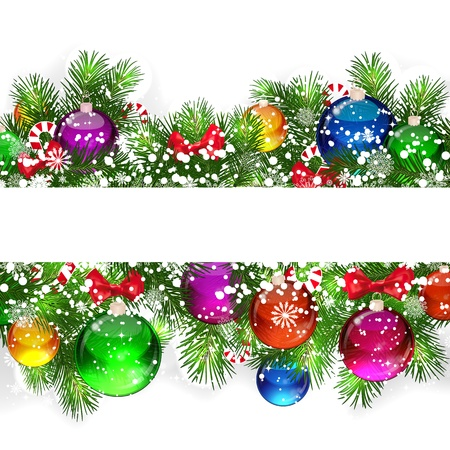Christmas background with snow-covered branches of Christmas tree, decorated with candies and balloons.