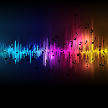 Illustration for Vector music equalizer waves background, spectrum abstract illustration. - Royalty Free Image