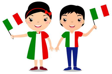 Illustrazione per Smiling children, boy and girl, holding a Italy flag isolated on white background. Vector cartoon mascot. Holiday illustration to the Day of the country, Independence Day, Flag Day. - Immagini Royalty Free