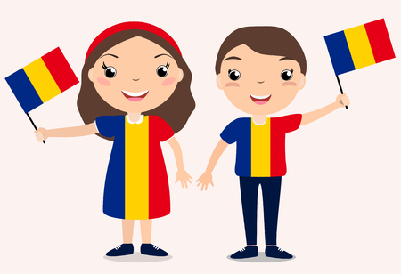 Illustration pour Smiling chilldren, boy and girl, holding a Romania flag isolated on white background. Vector cartoon mascot. Holiday illustration to the Day of the country, Independence Day, Flag Day. - image libre de droit