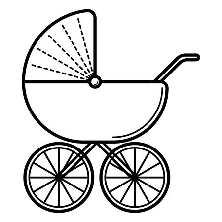 Ilustración de Stroller. Baby icon on a white background, line vector design. - Imagen libre de derechos